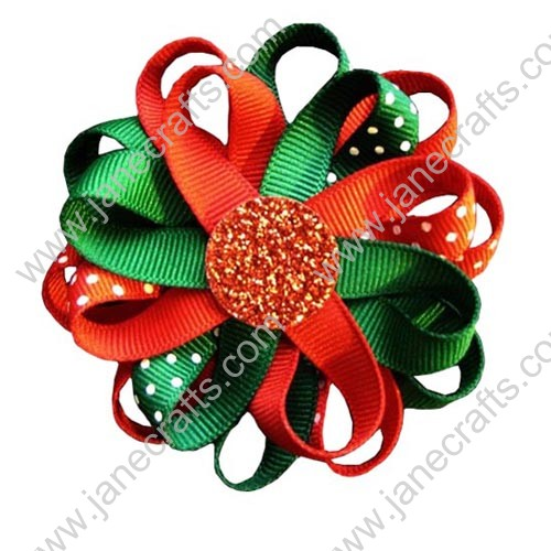 "3"" 12 PCS Girl's Flower Loop Hair Bow-Red/Green"