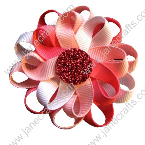 "3"" 12 PCS Girl's Flower Loop Hair Bow-Hot Pink/White"