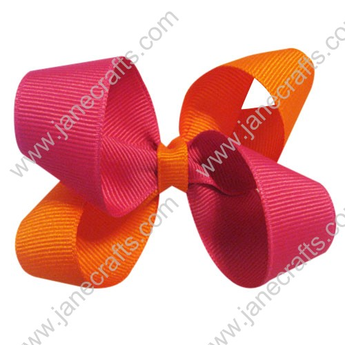 "12PCS Wholesale Lots 3"" Hot Pink and Orange Two Tone Color Small Loop Boutique Chunky Hairbow"