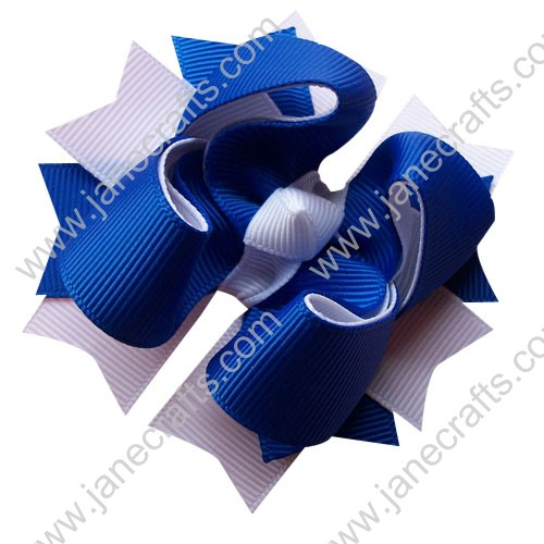 "12PCS Wholesale Lots 3.5"" Royal Blue & White Layered Boutique Spike Hairbow/All Girl"