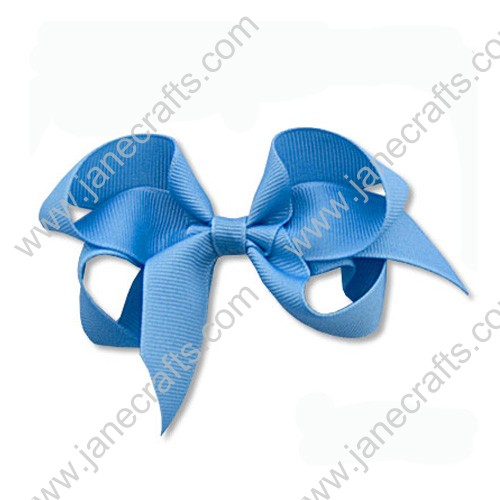 "4""Solid Grosgrain Hair Bow in Sky Blue-24PCS"