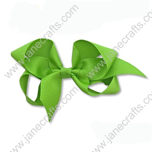 "4""Solid Grosgrain Hair Bow in Apple Green-24PCS"