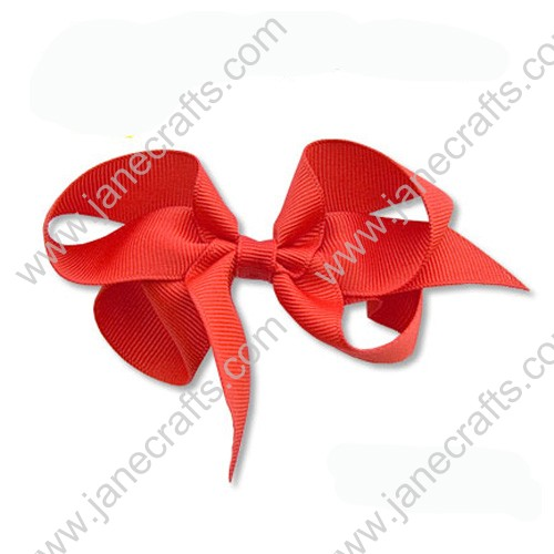 "4""Solid Grosgrain Hair Bow in Red-24PCS"