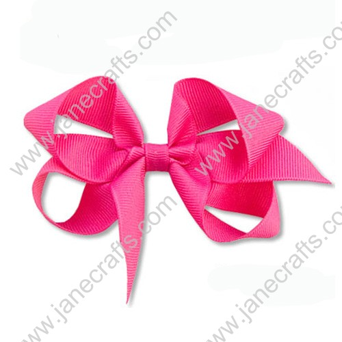 "4"" Solid Grosgrain Hair Bow in Shocking Pink-24PCS"