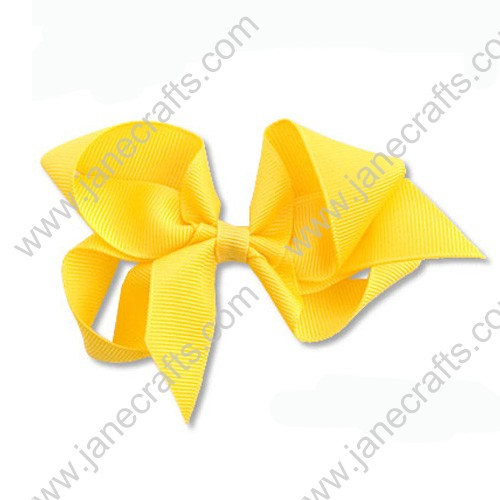 "4"" Solid Grosgrain Hair Bow in Lemon-24PCS"