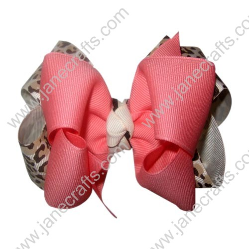 "12PCS 4"" Wholesale Lots Fabulous Double Layered Boutique Chunky HairBow Clips Leopard/Coral"