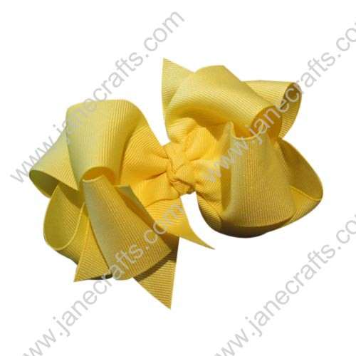 "12PCS 4"" Wholesale Lots Grosgrain Layered Boutique Chunky Hairbow/Baby Girl-Yellow"