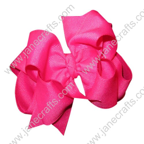 "12PCS 4"" Wholesale Lots Grosgrain Boutique Chunky Hairbow/Baby Girl-shocking pink"