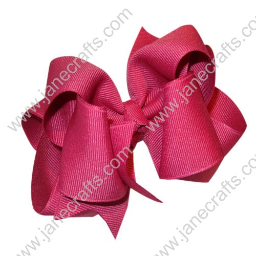 "12PCS 4"" Wholesale Lots Grosgrain Layered Boutique Loopy Chunky Baby HairBow Clips-Rosewood"