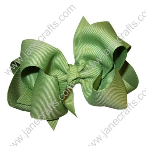 "12PCS 4"" Wholesale Lots Grosgrain Layered Boutique Loopy Chunky Baby Hairbow-Sage Green"