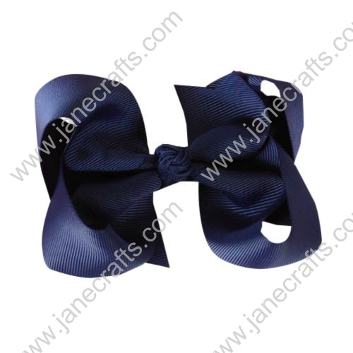 "12PCS 4"" Wholesale Lots Solid Grosgrain Boutique Chunky Baby Toddler HairBow Clips-Navy Blue"