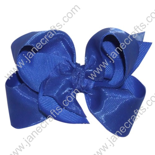 "12PCS Wholesale Lots 4"" Royal Blue Organza Over Grosgrain Boutique Loopy Chunky Hairbow"