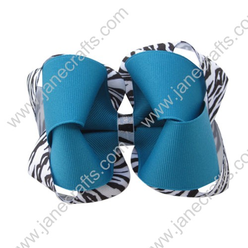 "12PCS Wholesale Lots 5"" Blue Zebra Print Double Twisted Boutique Chunky HairBow Clips"