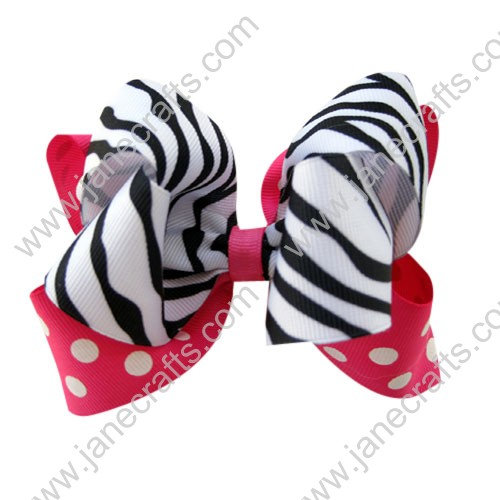 "12PCS Wholesale Lots 5"" Hot Pink Zebra Print Double Twisted Boutique Chunky HairBow Clips"