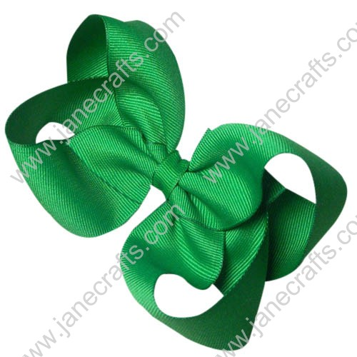 "12PCS 4 1/2"" Wholesale Lots Solid Loopy Grosgrain Baby Girl HairBow Clips/St Patrick's Day -Emerald Green"