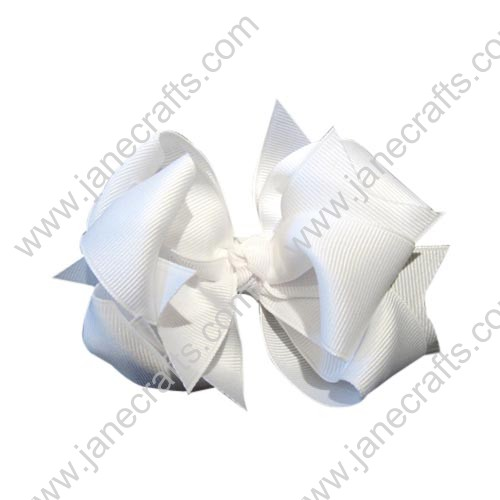 "12PCS 4 1/2"" Wholesale Lots Grosgrain Layered Boutique Chunky HairBow Clips/Baby Girl-White"