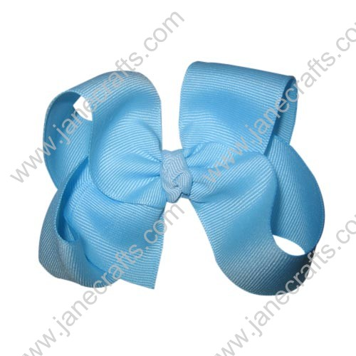 "12PCS 4 1/2"" Wholesale Lots Grosgrain Boutique Chunky HairBow Clips/Baby Girl-Sky Blue"