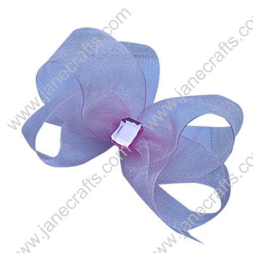 "12PCS 5"" Large Wholesale Lots Pretty Sheer Hairbow with Rhinestone-Pink"