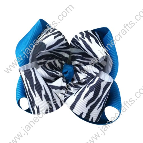"12PCS Wholesale Lots Large 4"" Island Blue/Zebra Layered Stacked Boutique Chunky HairBow Clips"