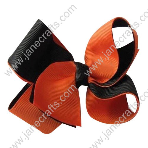 "24PCS Wholesale Lots 3"" Two Tone Color Halloween Boutique Hair Bow in Tangerine Black"