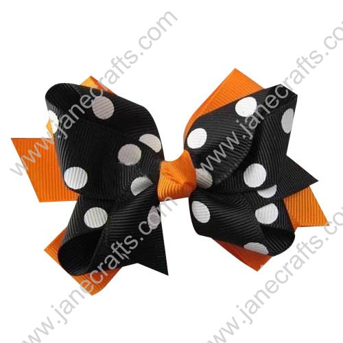 "24PCS Wholesale Lots 3"" Halloween Polka Dot Layered Hair Bow in Tangerine Black"
