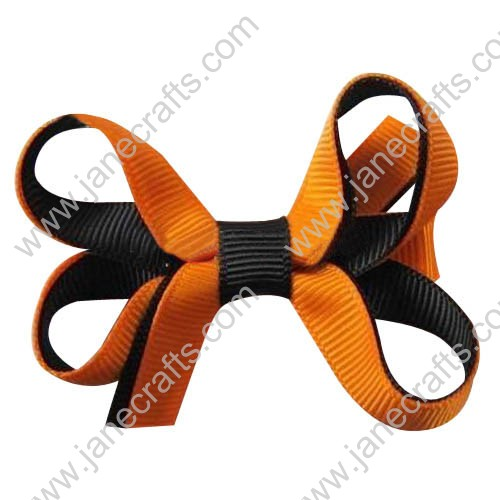 "12PCS Wholesale Lots 3"" Two Tone Color Halloween Boutique Hair Bow in Tangerine Black"