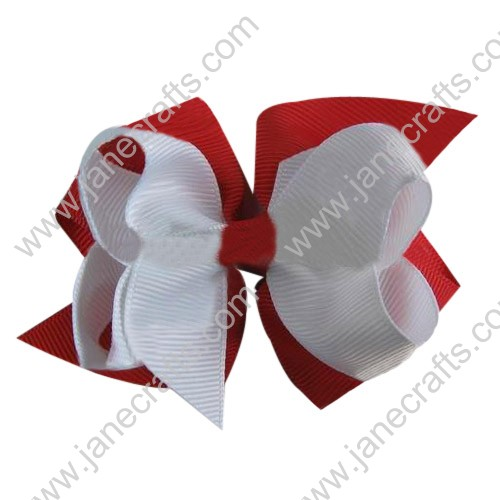"24PCS Wholesale Lots 3"" Two Tone Double Layered Boutique Hair Bow in Red White"