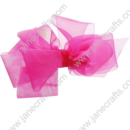 "24PCS Wholesale Lots 3.5"" Shocking Pink Organza Layered Boutique Hair Bow All Girl"