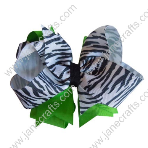"12PCS 4 1/2"" Large Wholesale Lots Grosgrain Two Layer Chunky Baby Girl HairBow Clips Lime Green/Zebra"