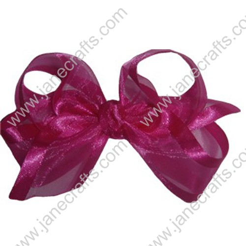"4"" Organza Hair Bow in Rose Red-12PCS"