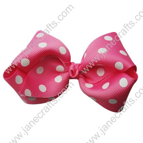 "3.5"" Polka Dot Chunky Hair Bow-Hot Pink/White Dot 12pcs"