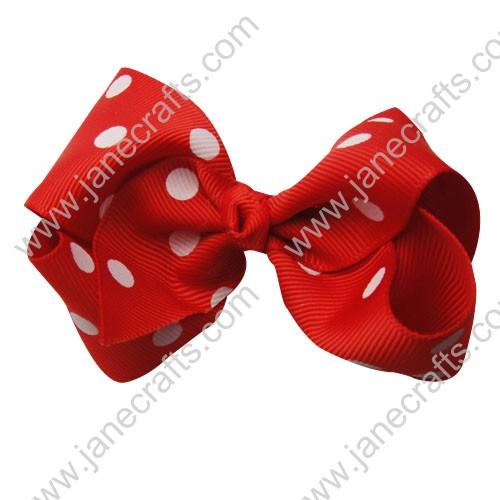 "3.5"" Polka Dot Chunky Hair Bow-Red White Dot 12pcs"