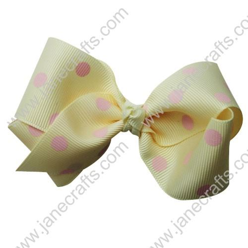 "3.5"" Polka Dot Chunky Hair Bow-Cream/Pink Dot 12pcs"
