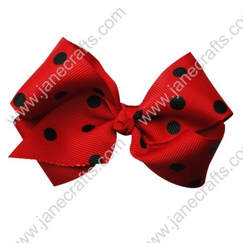 "3.5"" Polka Dot Chunky Hair Bow-Red Black Dot 12pcs"