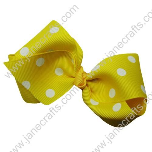 "3.5"" Polka Dot Chunky Hair Bow-Lemon White Dot 12pcs"
