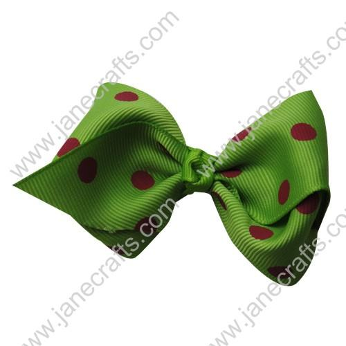 "3.5"" Polka Dot Chunky Hair Bow-Green Shocking Pink Dot 12pcs"