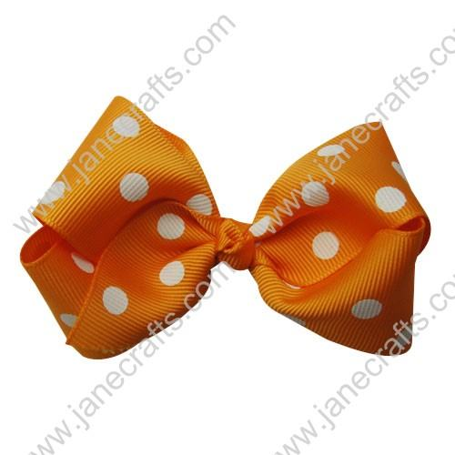 "3.5"" Polka Dot Chunky Hair Bow-Orange White Dot 12pcs"