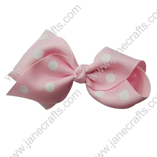 "3.5"" Polka Dot Chunky Hair Bow-Pink/White Dot 12pcs"