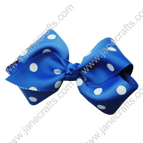 "3.5"" Polka Dot Chunky Hair Bow-Royal Blue White Dot 12pcs"
