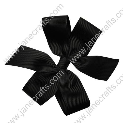"4"" Solid Daily Hair Bow in Black-30pcs"