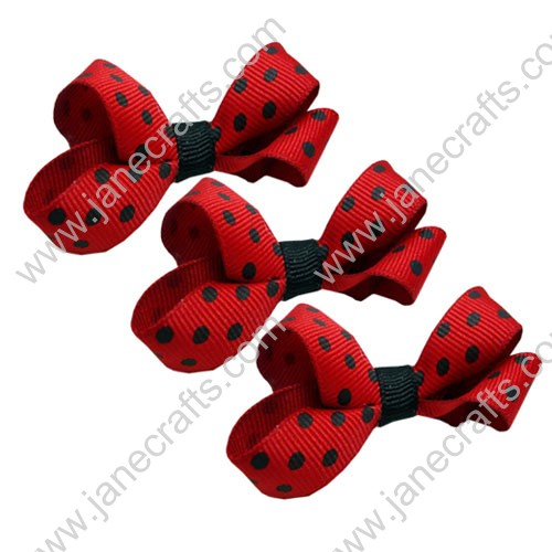 "3"" Red and Black Dot Grosgrain Hair Bow-30pcs"