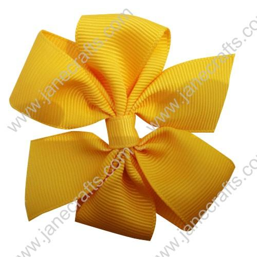 "3"" Solid Daily Hair Bow in Yellow Gold-30pcs"