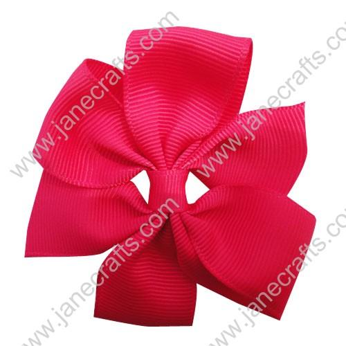 "3"" Solid Daily Hair Bow in Shocking Pink-30pcs"
