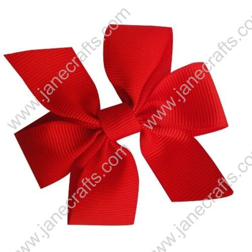 "4"" Solid Daily Hair Bow in Hot Red-30pcs"
