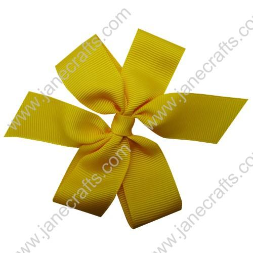 "4"" Solid Daily Hair Bow in Yellow Gold-30pcs"