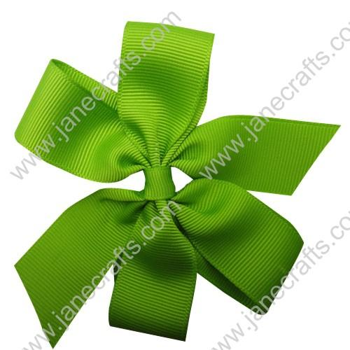 "4"" Solid Daily Hair Bow in Apple Green-30pcs"
