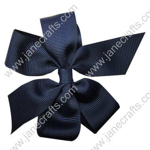 "4"" Solid Daily Hair Bow in Navy Blue-30pcs"