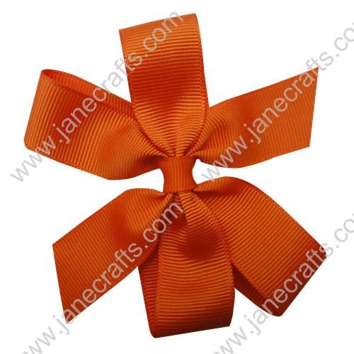 "4"" Solid Daily Hair Bow in Orange-30pcs"