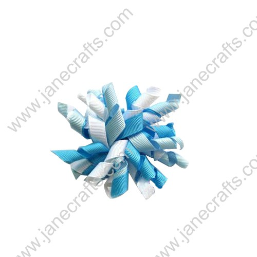 "Cute Sky Blue and White Korker Hair Bow Clips 3.5""-10pcs"