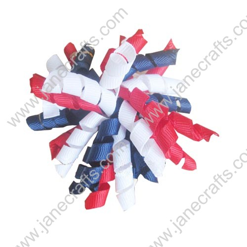"Cute Navy and Red Korker Hair Bow Clips 3.5""-10pcs"